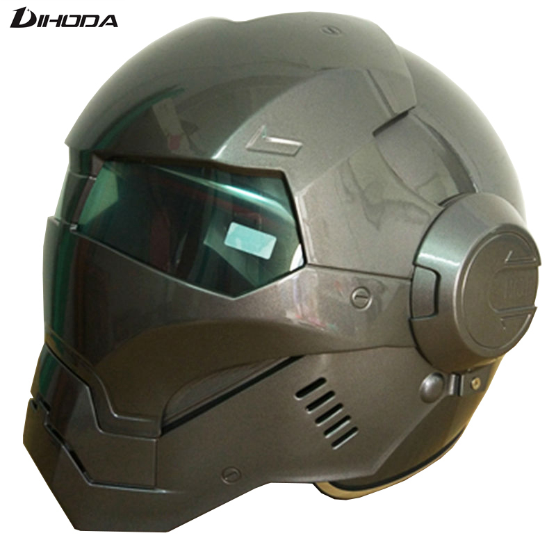 New Limited Time Three Color LensMasei Light Gray Mens Womens IRONMAN Iron Man Helmet Motorcycle Half