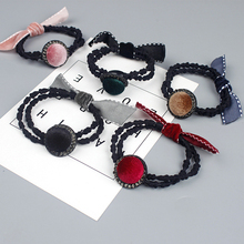 6Pcs Bow Knot Elastic Hair Ties Rope Ponytail Holder Headwear Bands Girls Women Sparking Headdress Accessory