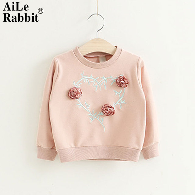 341a660f3 AiLe Rabbit Autumn and Winter Girls Shirt Embroidery Three ...