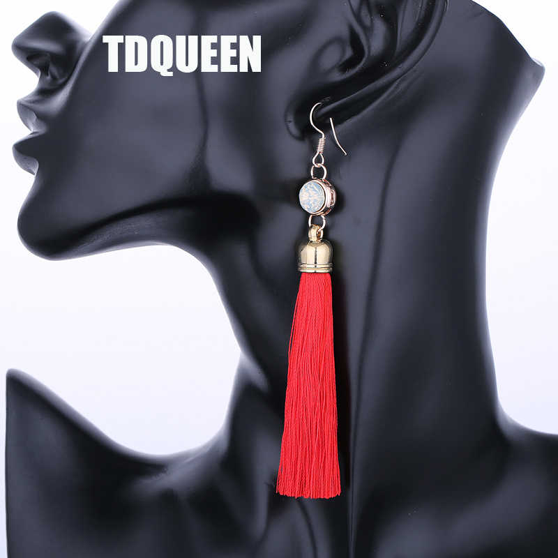 TDQUEEN Long Pendant Earring Brand Design Fashion Ear Jewelry Gift Bohemian Style Colorful Tassel Opal Drop Dangle Party Earring