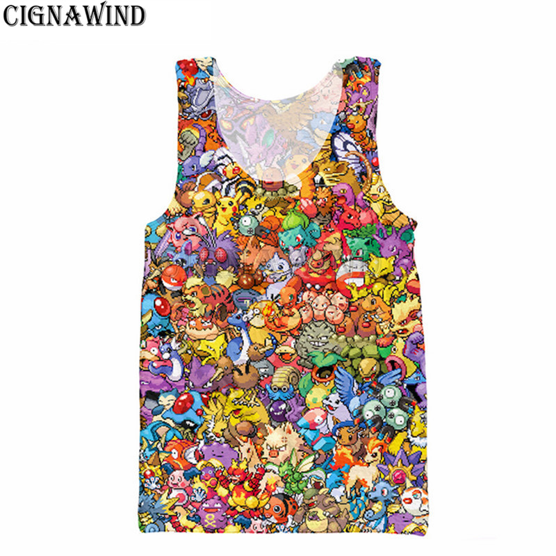 Frank Yx Girl Cartoon Pokemon Cool Vest 2018 Summer New Style Fashion Mens 3d Vest Cute Pikachu Printed Unisex Tank Tops Tank Tops Tops & Tees