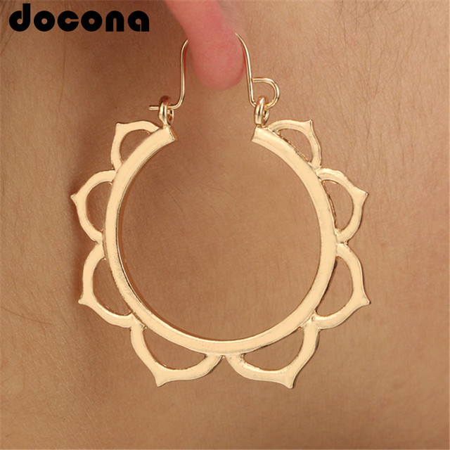 docona Bohemia Gold Silver Color Hollow Lotus Drop Earrings for Women Flower Hoo