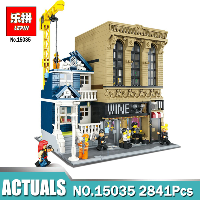 Lepin 15035 2841Pcs Creative MOC The Bars and Financial Companies Set Children compatible Legoing Building Blocks Bricks Toys new lepin 16009 1151pcs queen anne s revenge pirates of the caribbean building blocks set compatible legoed with 4195 children