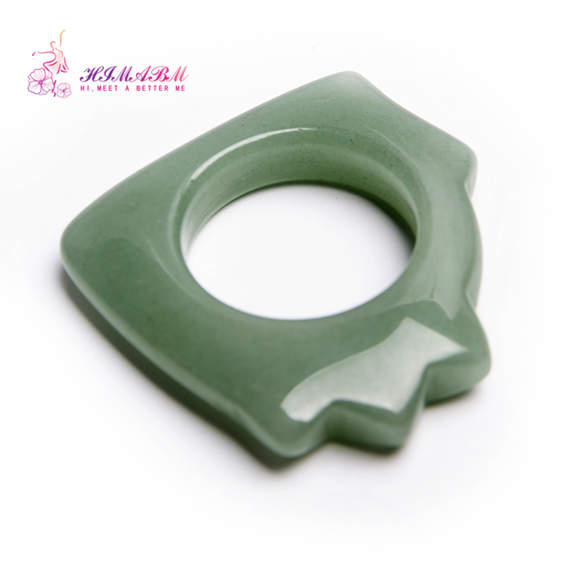 100%Natural Green Jade massage ring Gua Sha Board for finger or body massage reiking healing item relax tool acupunture point