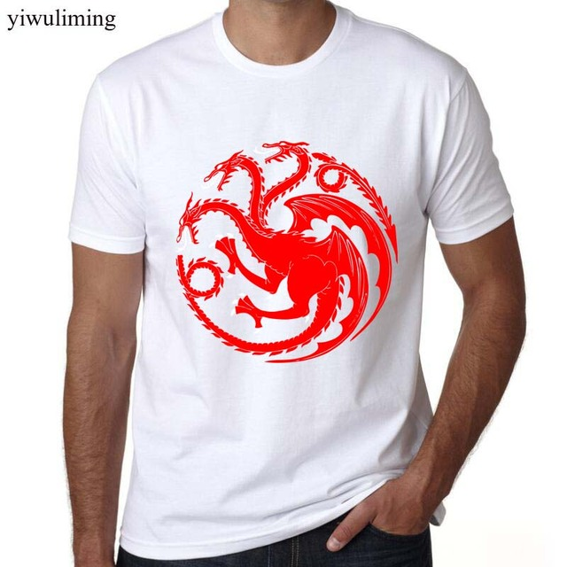 Game of Thrones Stark House Dragons Summer Casual Fashion Men's T-shirt