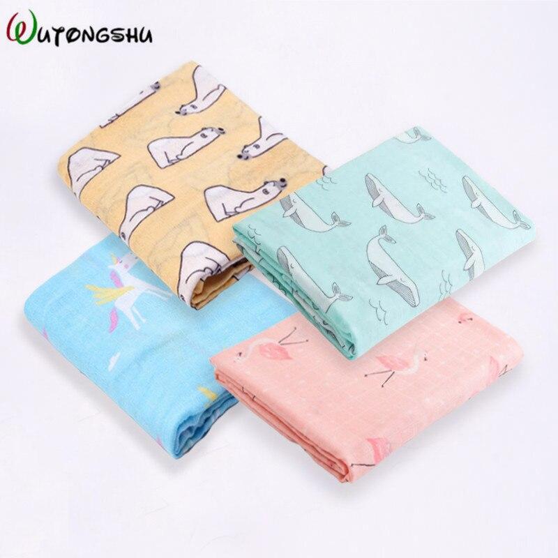 4Pcs/Pack Bamboo Cotton Baby Blankets Dinosaur Unicorn Patterns Multi-use Newborn Swaddles Infant Gauze Both Towel Baby Warp