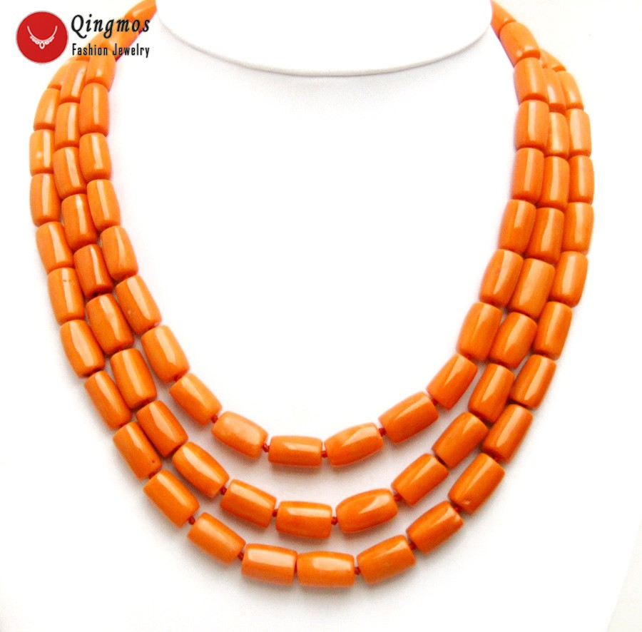 Qingmos Natural Orange 3 Strands Coral Necklace for Women with Genuine 10-12mm Thick Slice Coral Chokers Necklace 18-20 Jewelry