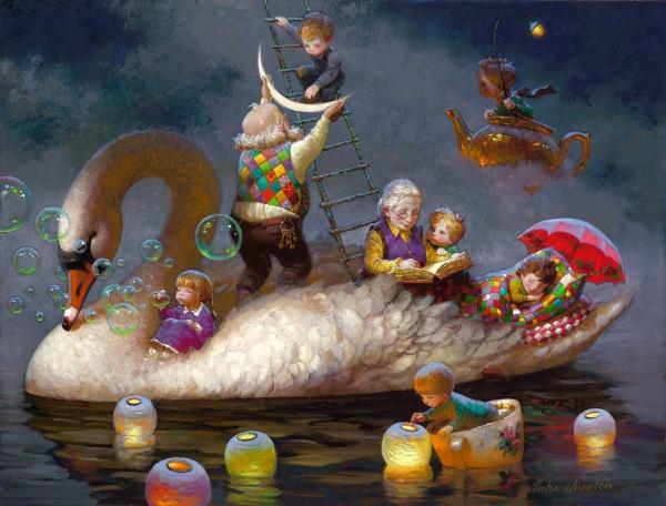 Сучасне мистецтво Віктор Нізовцев Полотно друкує олійною живописом Дитяча кімната Різдвяні прикраси настінна картина найкращий різдвяний подарунок vk36