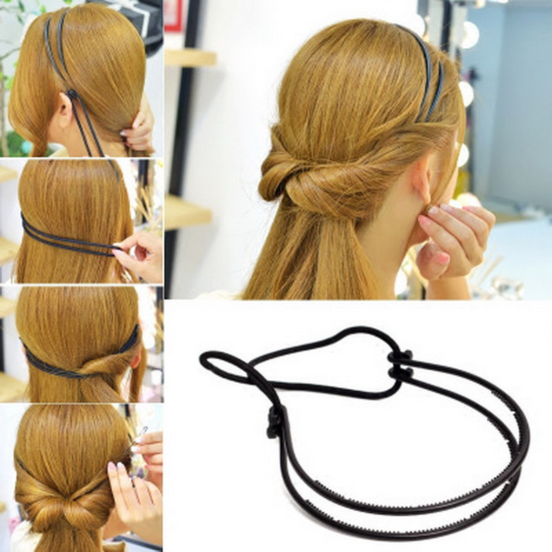 Us 0 99 50 Off 1 Pcs Women S Hair Loop Styling Tool Double Root Headband Hair Braid Ponytail Styling Clip Bun Maker For Girls Hairstyles In Women S