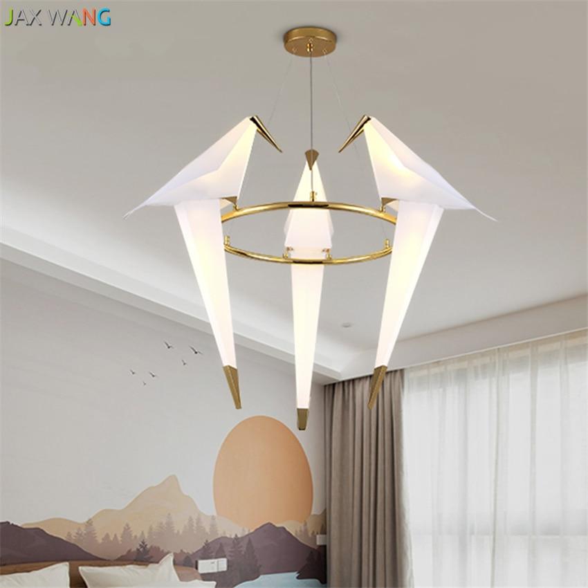 Nordic design Thousand Paper Crane Bird Pendant Lights LED Lamp for Dining Living Room Bedroom Decor Gold Hanging light Fixtures in Pendant Lights from Lights Lighting