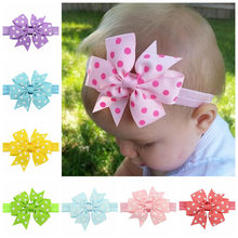 New Born Girls Dots Ribbon Bow Head Bands Flower DIY Bowknot Baby Kids Children Hairbands Wrap Elastic Headband Hair Accessories(China)