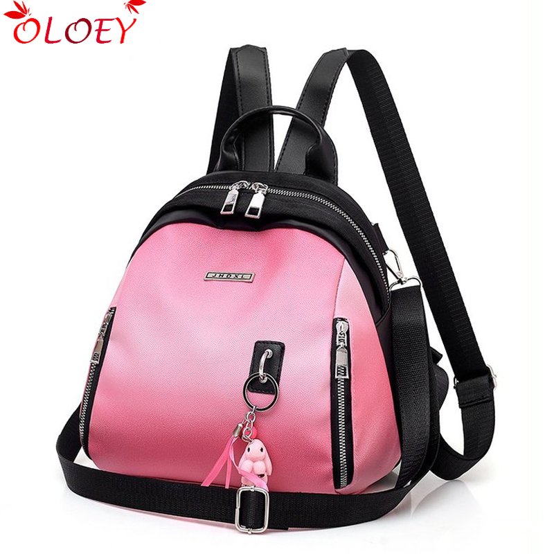 2019 New Backpack Women Multifuction  Bag Pack Casual Anti Flight Backpack For Teenagers Schoolbag Quality Pendant Backpack Moch