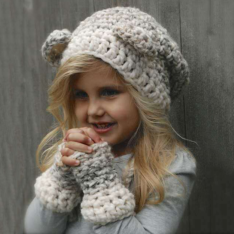 Bomhcs Cute Babys Cat Beanie 100% Handmade Knitted Kids Ears Hat For Kids Ages 3-8 Fast Color Girl's Accessories