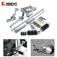 Complete Set of Chrome Forward Controls Foot Pegs Kit Levers Linkage For Harley Sportster 883 1200 Custom Roadster