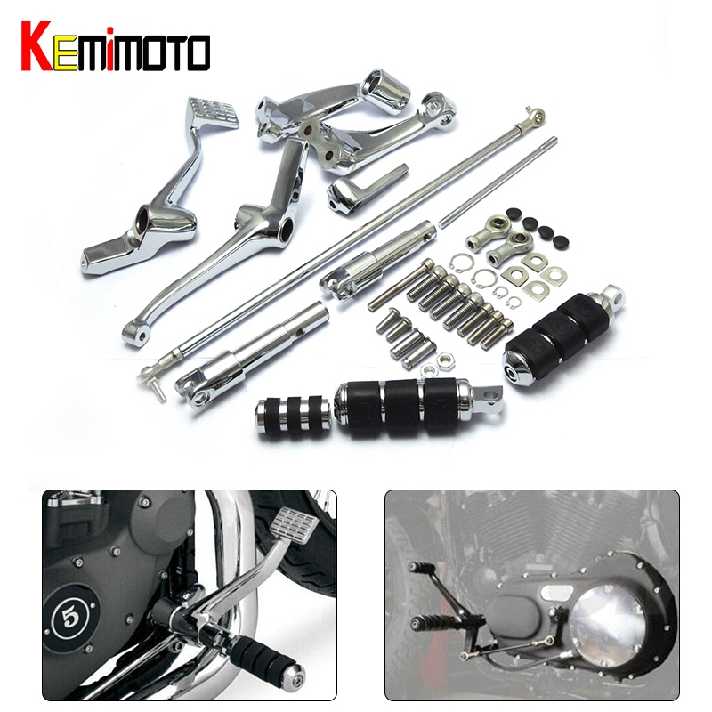 Complete Set of Chrome Forward Controls Kit Pegs Levers Linkage For Sportster 883 1200 Custom Roadster Low Nightster 2004-2013