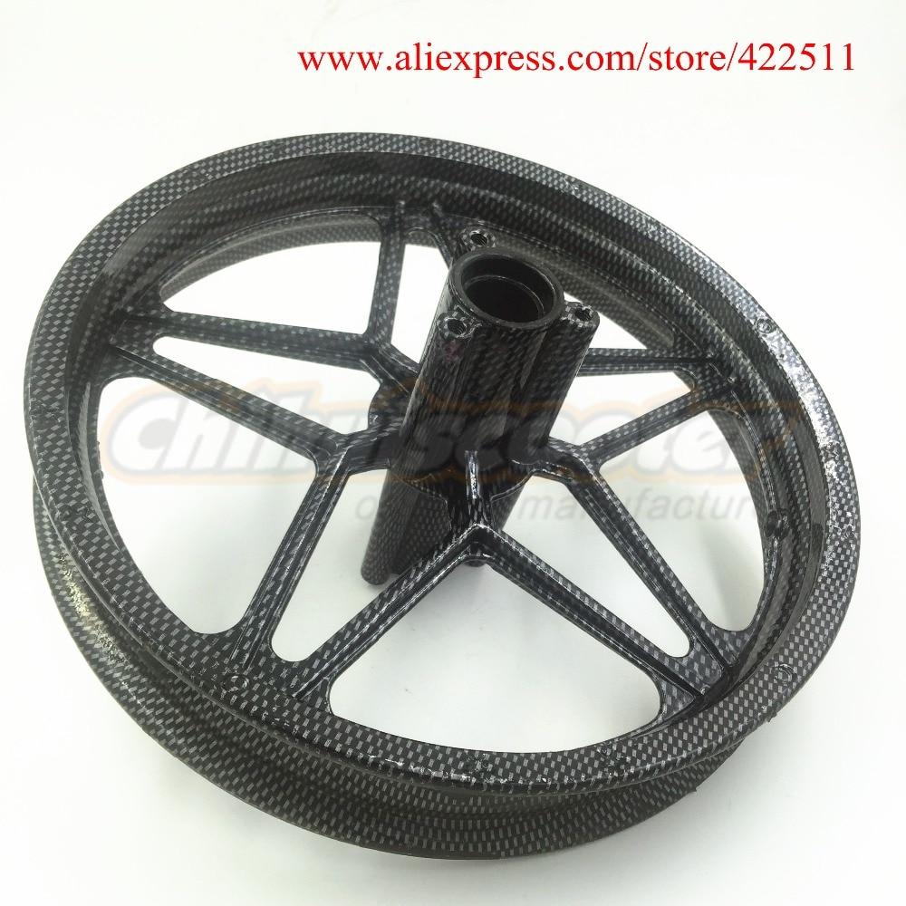 """Prix pour 10 polegada alliage arrière jante de la roue / 10 """" Aluminium Scooter de roue Hub avec fiber de carbone noir pour grande roue Scooters ( Scooter pièces )"""