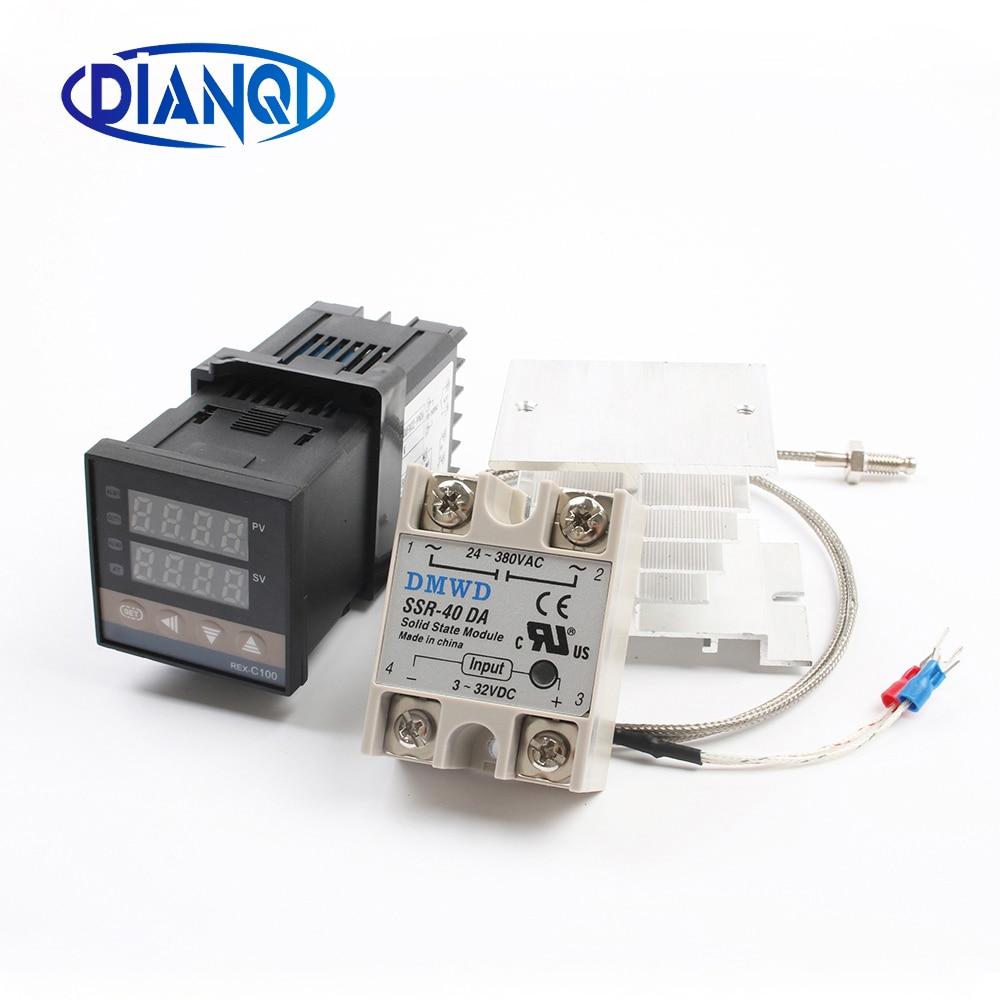 110V ~ 240V Digital PID Temperatur Controller REX-C100 REX C100 thermostat + 40DA SSR Relais + K Thermoelement 1m Sonde RKC
