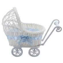 Плетеная корзина для детской коляски, ваза для цветов, органайзер для хранения, для детского душа, вечерние, подарки, голубой цвет