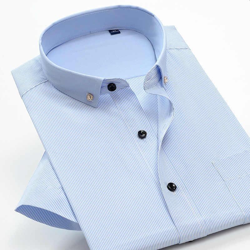 شانباو 4XL 5XL 6XL 7XL 8XL 9XL 10XL اضافية كبيرة الحجم ماركة قميص 2019 الصيف رجال الأعمال عادية مخطط قصيرة الأكمام قميص