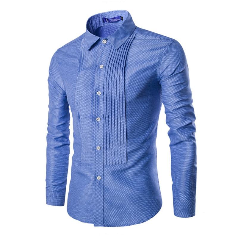 Palace Style Fold Design Long Sleeve Shirt Men Casual