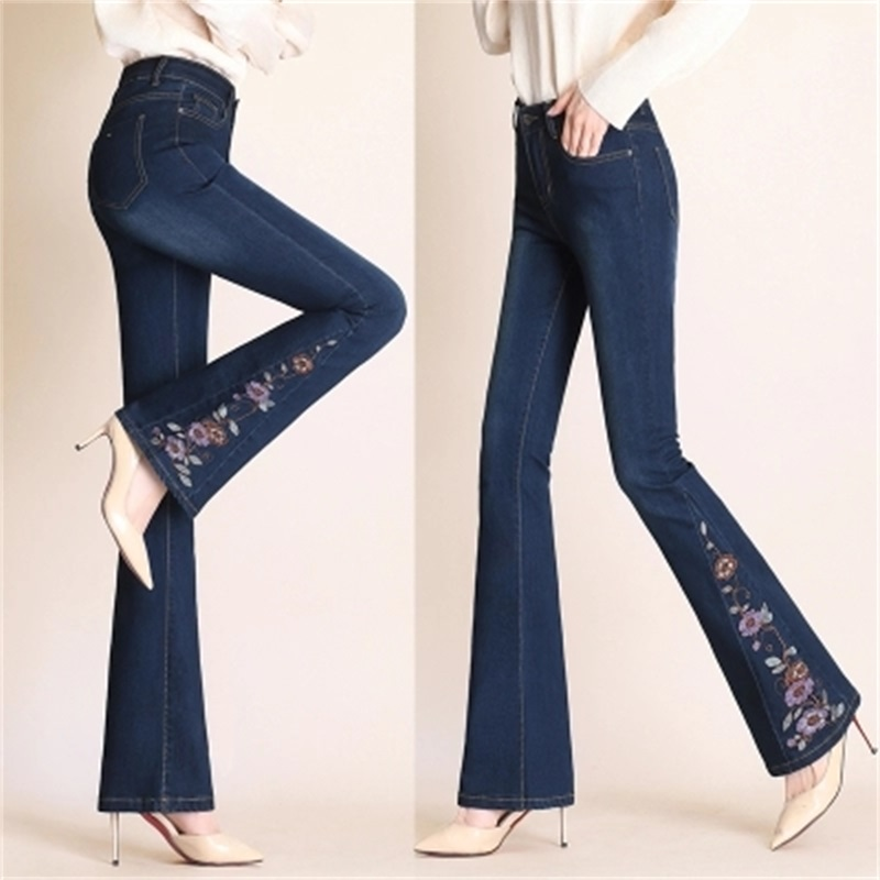 Spring and autumn new women's stretch   jeans   high waist fashion national wind embroidery micro-horn   jeans   TB180816