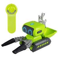 968 Intelligent 2.4GHz Wireless Remote Control Robot Cute Cartoon RC Robot Toy Engineering Vehicle Programming Robot Car
