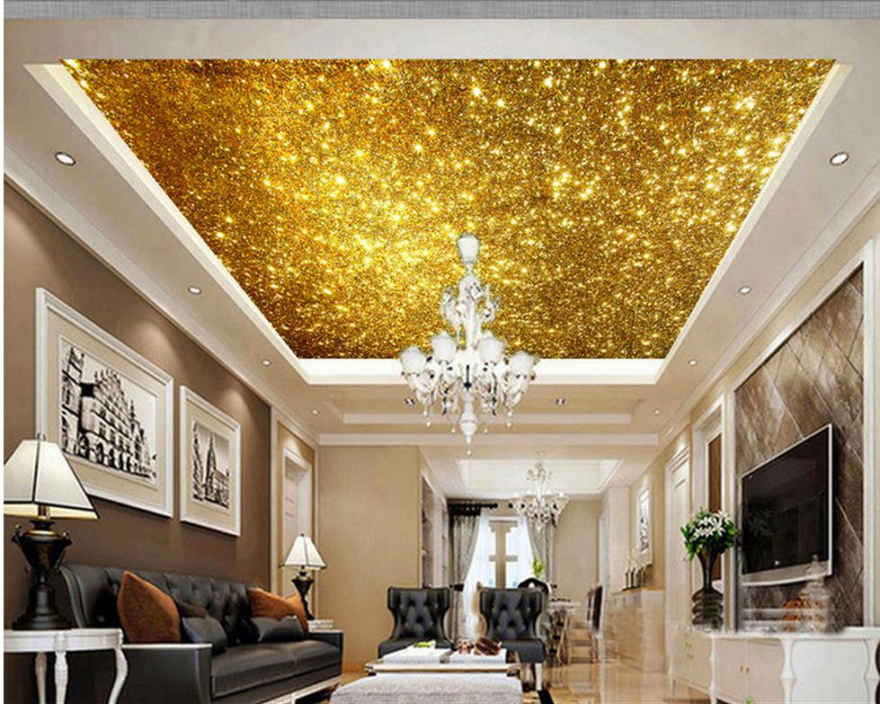 Custom photo wallpaper large 3d sofa tv background for Gold wallpaper for walls