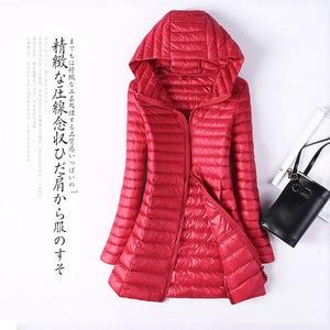 Image 5 - 2020 Autumn Jacket Women Duck Down Slim Long Parkas Ladies Warm Coat Hooded Plus Size 5XL 6XL Ultra Light Winter indoor Coats