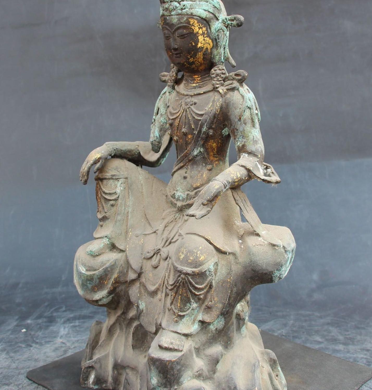 51MMCollect Small Curio Chinese Buddhism Bronze Kwan-yin Guan Yin Wealth Pendant