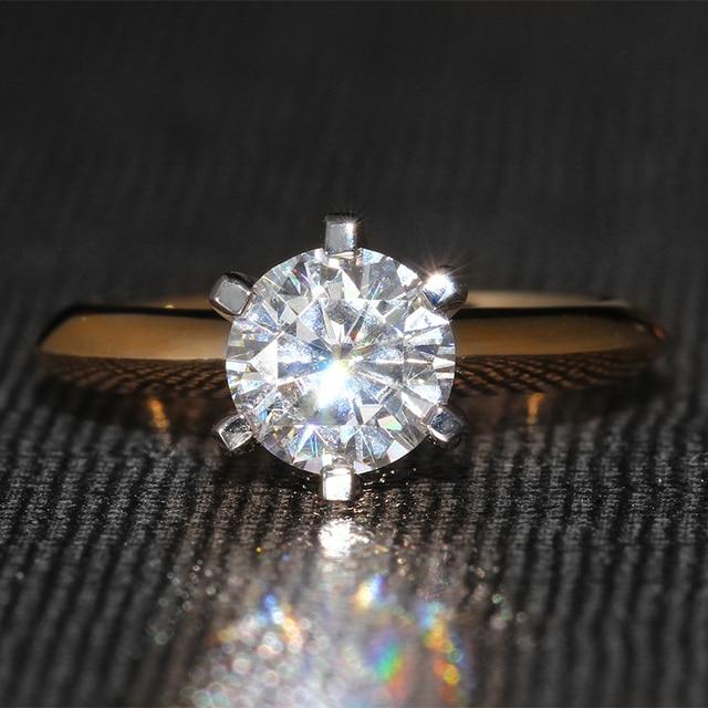 Роскошные 1 Карат кт Обручальное Свадебный Lab Grown Муассанит Бриллиантовое Кольцо Твердые 14 К 585 Двухцветное Золото Для Женщин ювелирные изделия