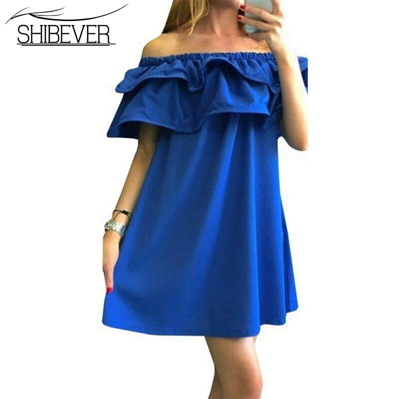 Shibever2017 nuevas mujeres vestidos de verano casual hombro mujer beach dress s