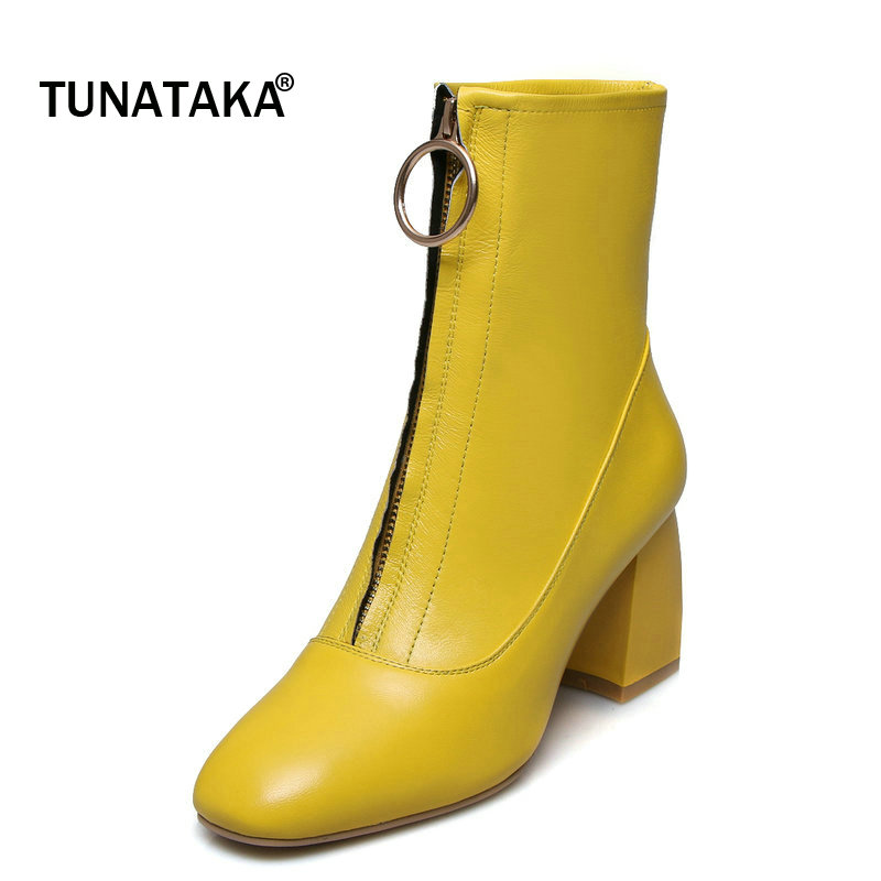 Shoes Woman Genuine Leather Zipper Square High Heel Short Boots Fashion Square Toe Dress Winter Boots Black Yellow woman platform square high heel buckle ankle boots fashion round toe side zipper dress winter boots black brown gray white