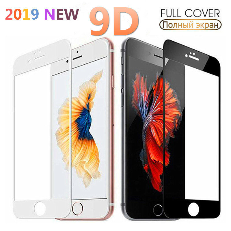 XINDIMAN 9D Curved tempered glass for iphone7 7plus black white full cover screen protector 6 6s 6plus 8 8plus X XR XSMAX