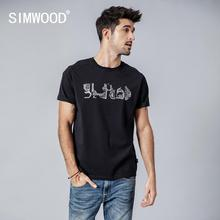 SIMWOOD 2020 קיץ t חולצה גברים רכבת תחתית מפת הדפסת אופנה חולצת טי מזדמן קצר שרוול 100% כותנה בתוספת גודל צמרות 190162