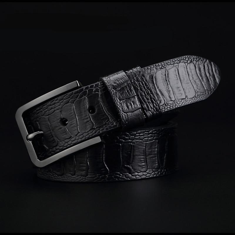Image 4 - GFOHUO Luxury Alligator Grain Men Belt Pin Buckle Genuine leather Belt For men Vintage Male For men Belt Cinto machoMens Belts   -