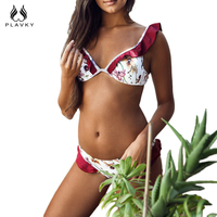 PLAVKY 2017 Lovely Sexy White Floral Red Ruffle Biquini Swim Wear Bathing Suit Swimsuit Thong Swimwear