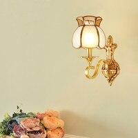 Modern Outdoor European Copper Wall Lamp Single/Double Head Hallway Light Bedroom Brass Glass Wall Sconce AC 100% Guaranteed