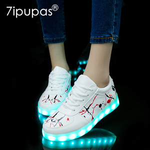Image 1 - 2018 New USB illuminated krasovki luminous sneakers glowing kids shoes children with sole led light up sneakers for girls&boys