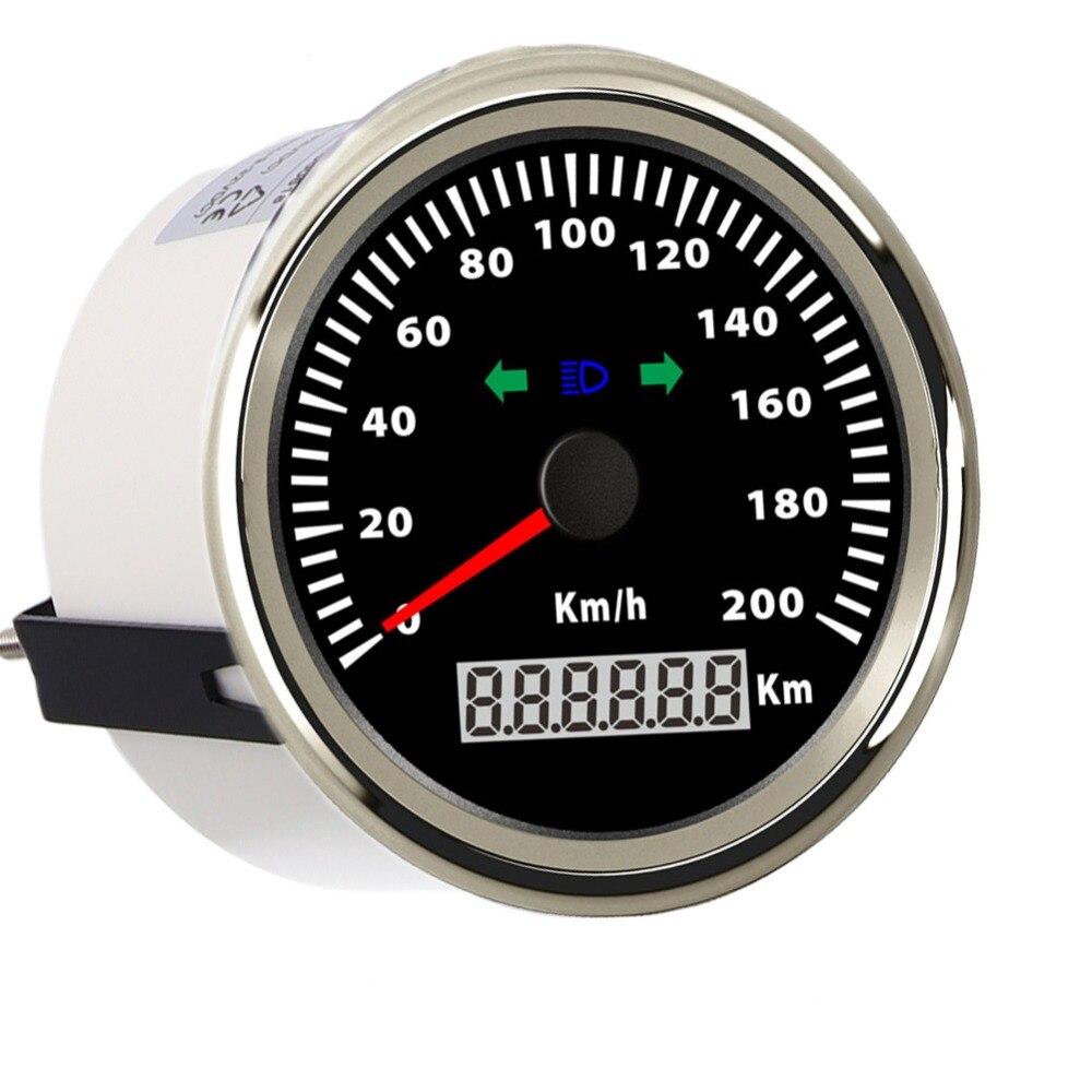 85mm 200 Km/h GPS Speedometer Digital Gauge for Car Truck Boat 12V 24V Waterproof Digital Gauge With Turning Indicator 52mm car gps speedometer waterproof truck boat digital lcd speed gauge with gps antenna