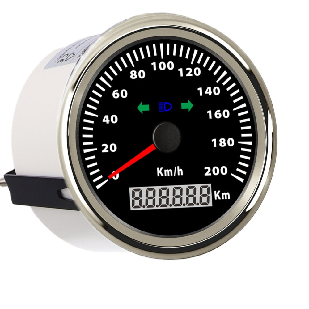 цены 85mm 200 Km/h Speedometer Digital Speed Gauge for Car Truck Boat 12V 24V Waterproof Speedometer Gauge With Turning Indicator