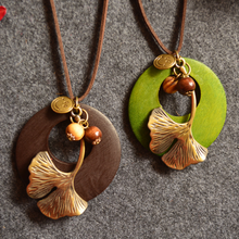 2019 Women Vintage Long Necklace Fashion Handmade Jewelry Multilayer Rope Leather Alloy Plant Leaf Charm Pendant Wood Necklace