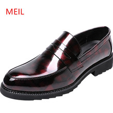 218 Men Pointed Toe Dress Formal Shoes Patent Leather Oxford for Classic Wedding Party Mens Loafers