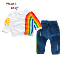 2Pcs Baby Clothing Sets Infant Rainbow Print SetTassel Top Denim Pant Girls Boys Set Newborn Valentines