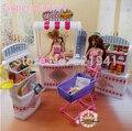 Бесплатная Доставка Девушка подарок на день рождения пластиковые Игровой Набор супермаркет Self-mall магазин куклы аксессуары для куклы барби, девушки diy игрушки