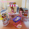 Free Shipping Girl birthday gift plastic Play Set supermarket Self-mall store  doll accessories for barbie doll,girls diy toys