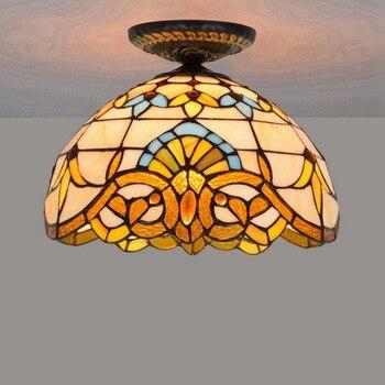 30 سنتيمتر الأوروبية الرجعية الباروك تيفاني الملون طاولة طعام زجاجية غرفة الممر الممر سقف حمام مصباح