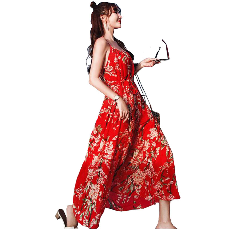 2018 Summer Sundresses Lady Boho Spaghetti Strap Red Plum -5007