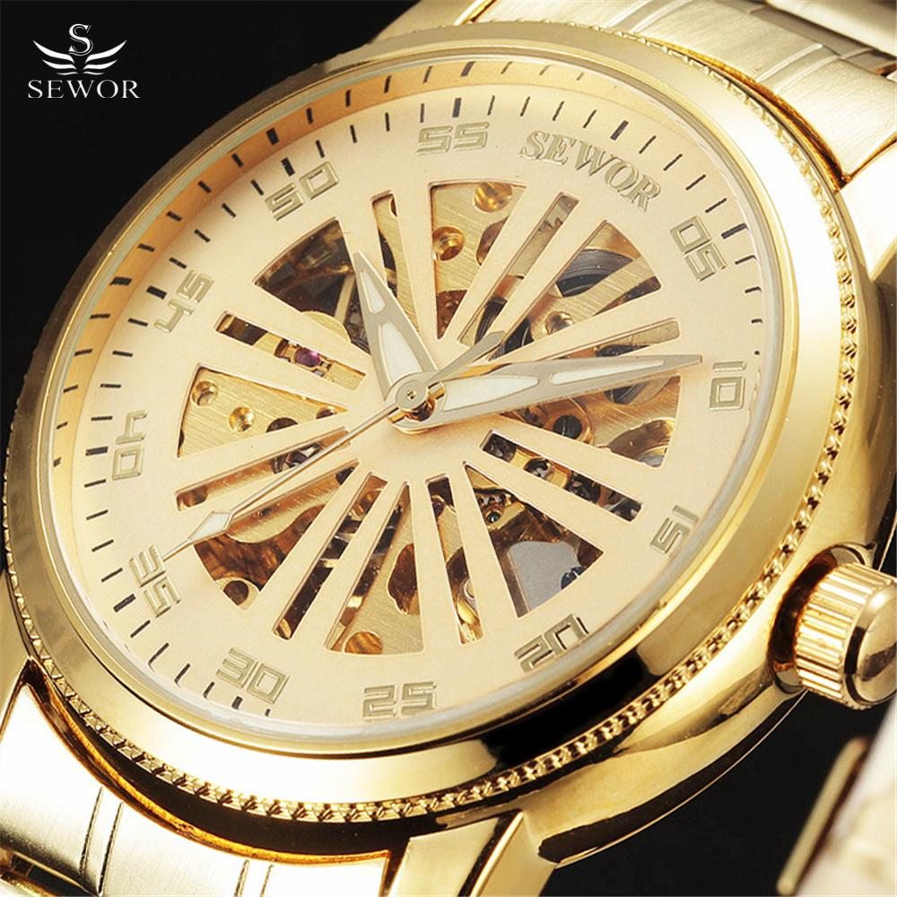 Top Brand SEWOR Fashion Automatic Mechanical Watches Men Luxury Wheel Cut Skeleton Dial Gold Steel Band Male Gift Wristwatches цена и фото