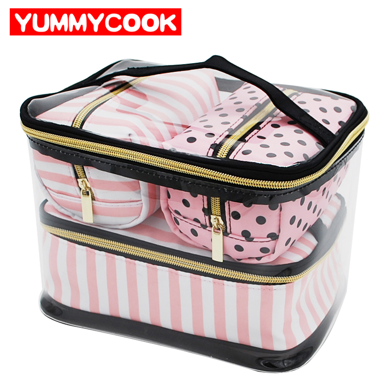 ad6f49cc7558 US $12.59 30% OFF|Women's Clear PVC Cosmetic Storage Bags Portable Makeup  Organizer Waterproof Wash Case Travel Toiletry Pouch Accessories Stuff-in  ...