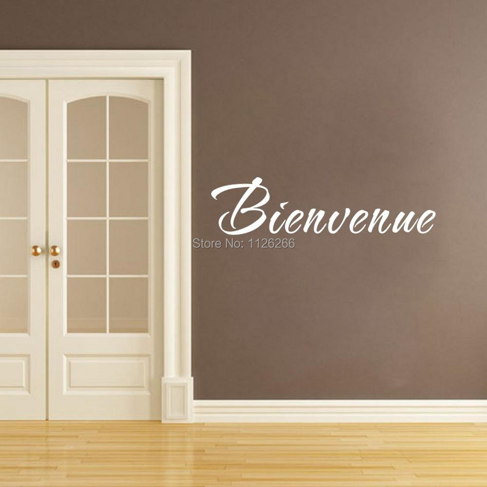 French quote welcome wall decals for living room art mural for Mural lettering